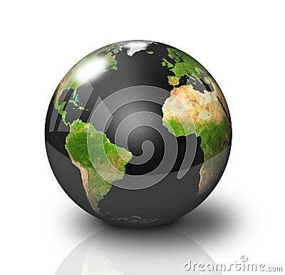 Glossy Black Earth Globe