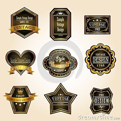 Glossy black gold vintage and retro badges design