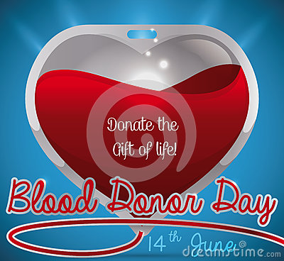 Free Glossy Blood Bag Like A Heart For Blood Donor Day, Vector Illustration Stock Image - 94354571