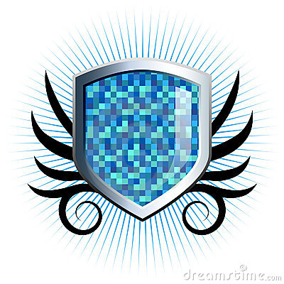Glossy blue checkered shield emblem