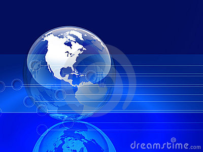 Glossy Blue Globe and Lines