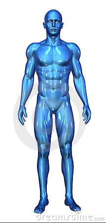 Glossy Blue Man Standing