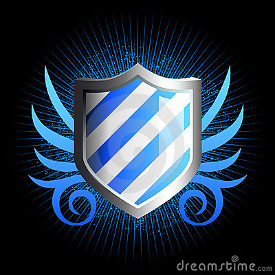 Glossy blue shield emblem
