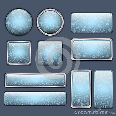 Glossy blue winter buttons