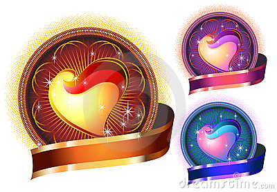 Glossy Bright Heart circle in colors
