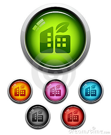 Glossy buildings button icon