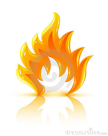 Free Glossy Burning Fire Flame Icon Royalty Free Stock Image - 7634526