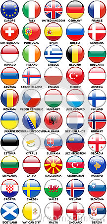 Glossy Buttons European Countries Flags