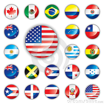Glossy button flags - America