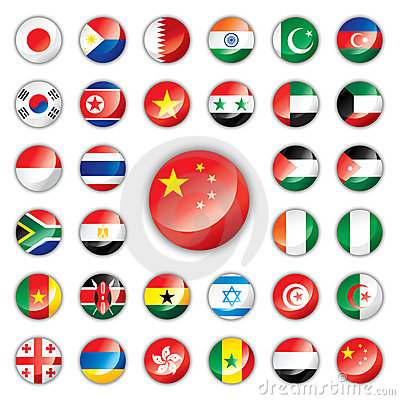 Free Glossy Button Flags - Asia & Africa Stock Photo - 15028700