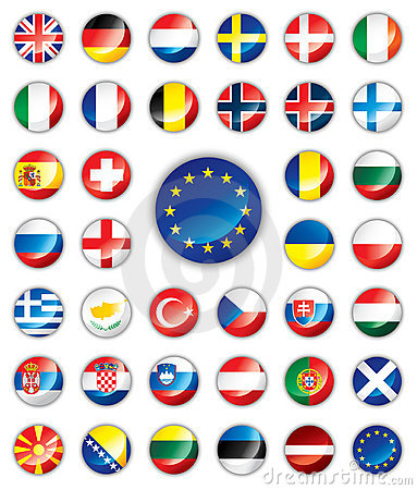 Glossy button flags - European