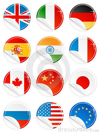 Free Glossy Button Icon Sticker National Flag Set Royalty Free Stock Image - 4618146