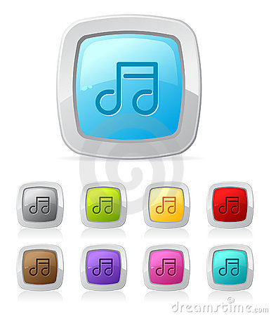 Free Glossy Button - Music Royalty Free Stock Photo - 10057645