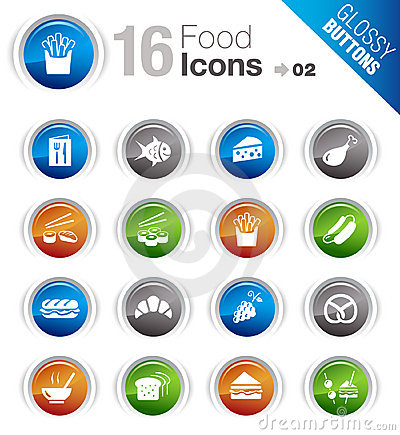 Free Glossy Buttons - Food Icons Royalty Free Stock Images - 23190469