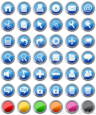 Free Glossy Buttons Icons Set [1] Stock Images - 24323734