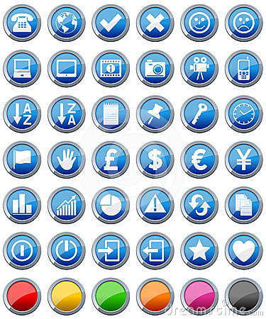 Free Glossy Buttons Icons Set [2] Stock Image - 24323781