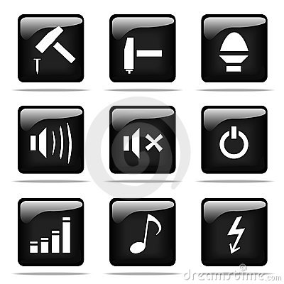 Glossy buttons with icons set