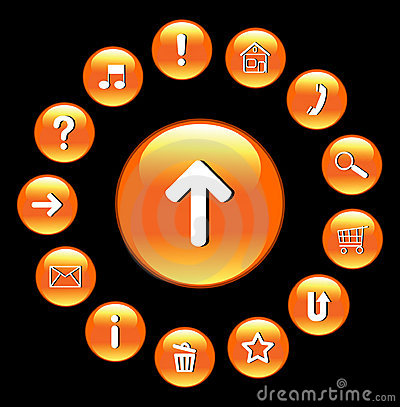 Glossy buttons with symbols.
