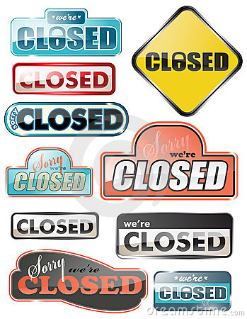 Glossy closed store signs