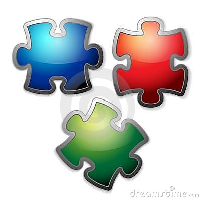Glossy colorful puzzle set