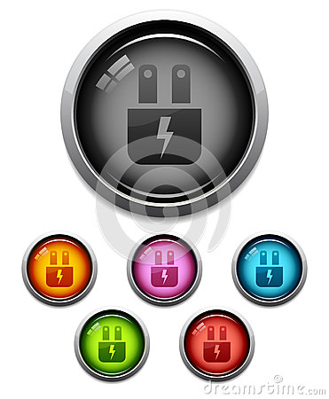 Glossy electric plug icon