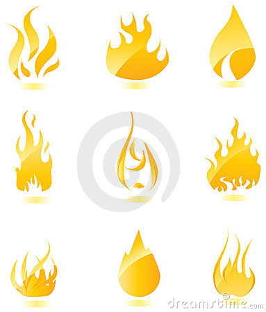 Glossy fire icons. Big set.