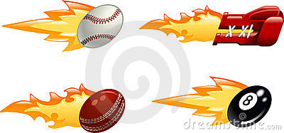 Glossy flaming sport icons