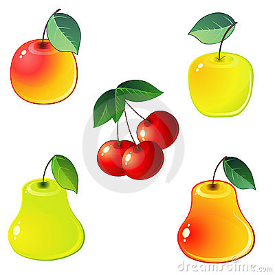 Glossy fruit icons