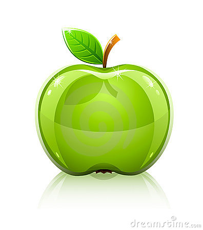 Glossy glass green apple with leaf