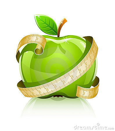 Glossy glass green apple with measuring line