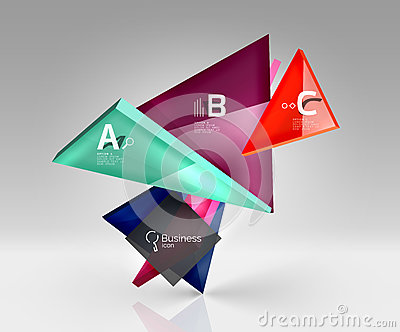 Glossy glass translucent triangles on 3d empty space Vector Illustration