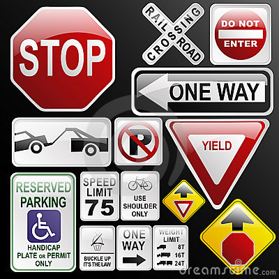Free Glossy, Glassy Road Signs Royalty Free Stock Image - 3171946