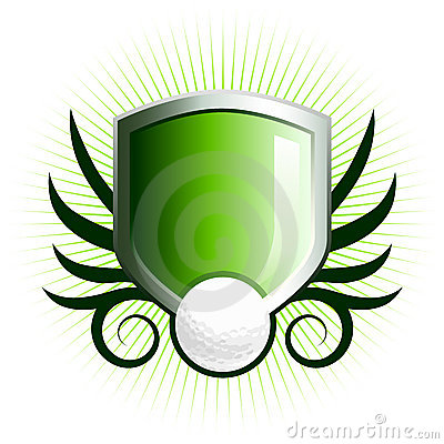 Free Glossy Golf Shield Emblem Royalty Free Stock Images - 5196969