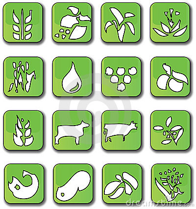 Glossy Green Farming Crop Icons