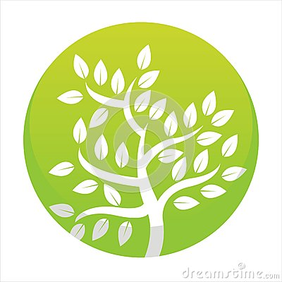 Glossy green tree button