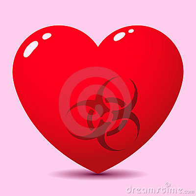 Glossy heart with biohazard symbol