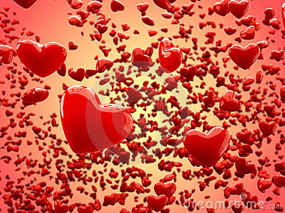 Glossy hearts Abstract Background (Depth of Field)