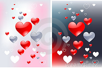 Glossy hearts love backgrounds