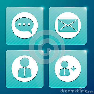 Glossy icons for social networks and mailboxes