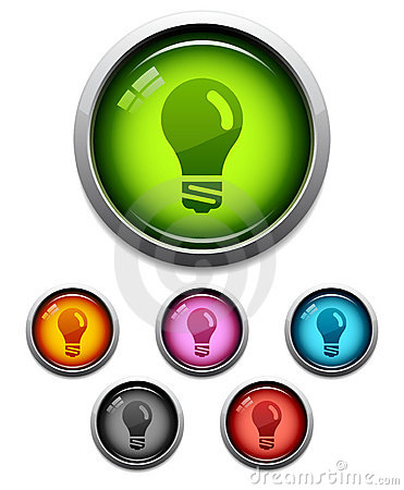 Free Glossy Lightbulb Icon Stock Photos - 6140383