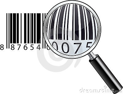 Glossy magnifying barcode.