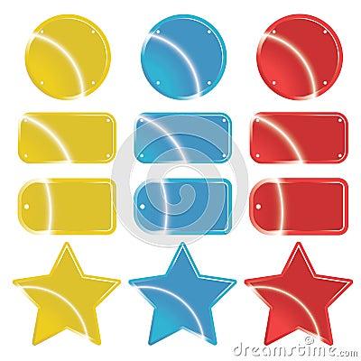 Glossy metallic retail icons