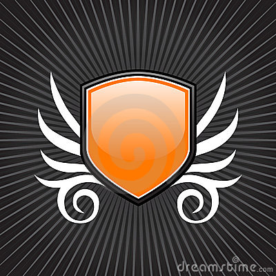 Glossy orange shield emblem