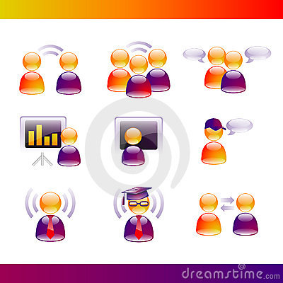 Glossy People Communication Icons