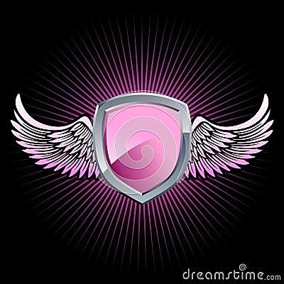 Glossy pink shield emblem