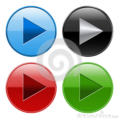 Glossy Play Buttons Stock Photo