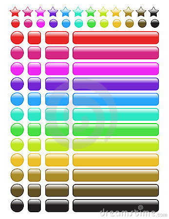 Free Glossy Rainbow Web Buttons Stock Photos - 12175153