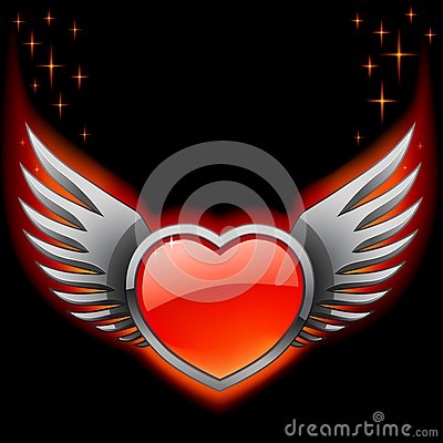 Glossy red heart with iron wings on the black