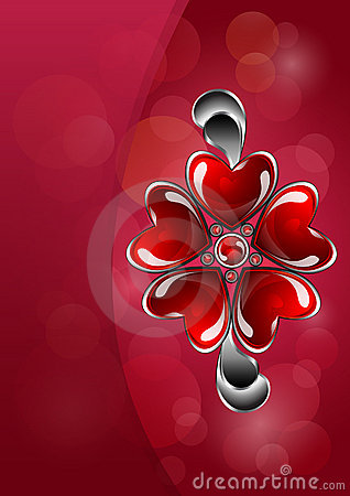 Glossy red heart-shaped bijouterie