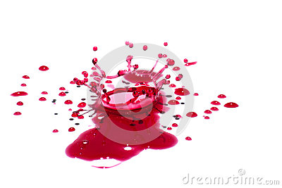 Glossy red liquid droplets (splatters) isolated on white
